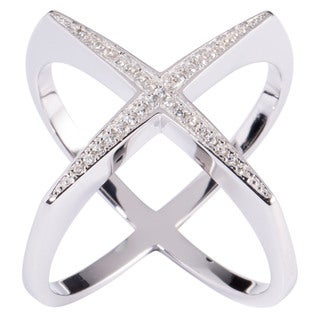 "La Preciosa Smooth Sterling Silver or Cubic Zirconia Designed ""X"" Ring"
