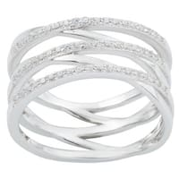 La Preciosa Sterling Silver Multi-row Cubic Zirconia Crisscross Ring