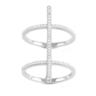 La Preciosa Sterling Silver Wide Double Band with Bar Cubic Zirconia Ring