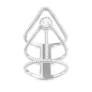 La Preciosa Sterling Silver Large Triple Band Designed Cubic Zirconia Ring