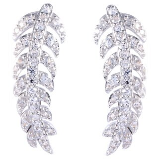 La Preciosa Sterling Silver Curved Leaf Cubic Zirconia Ear Crawler Earrings