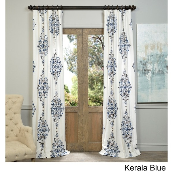 Exclusive Fabrics Kerala Blue Printed Cotton Twill Curtain Panel