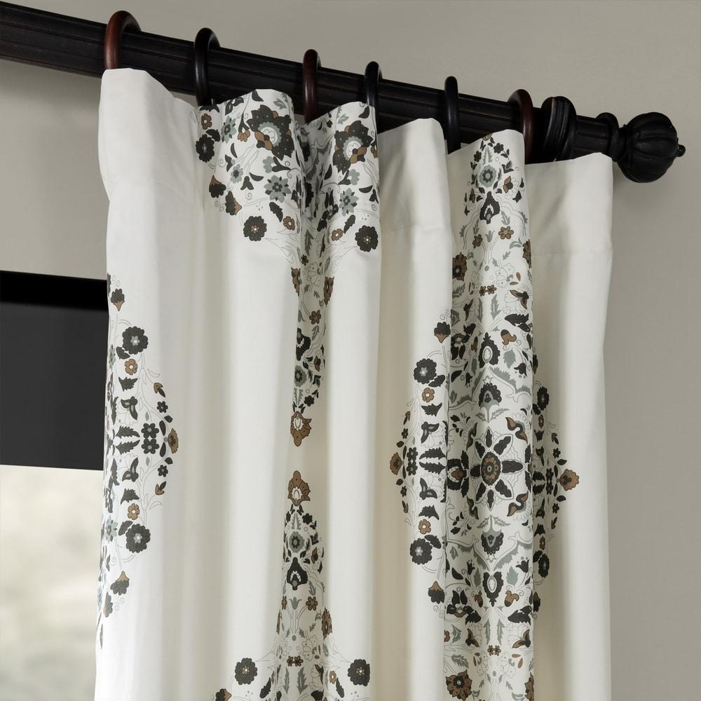 Shop Exclusive Fabrics Kerala Blue Printed Cotton Twill Single Curtain Panel - 10768886