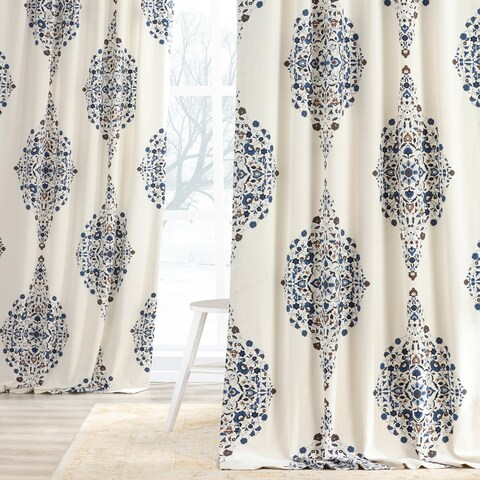 Exclusive Fabrics Kerala Blue Printed Cotton Twill Single Curtain Panel