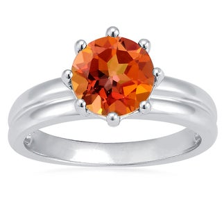 Sterling Silver Ecstasy Topaz Solitaire Ring