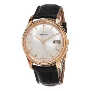 Eterna Men's 7630.69.10.1186 'Vaughan' Silver Dial Black Leather Strap Rose Gold Big Date Swiss Automatic Watch