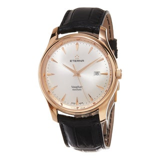 Eterna Men's 7650.69.11.1185 'Vaughan' Silver Dial Black Leather Strap Swiss Automatic Watch