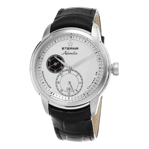 Eterna Men's 'Adventic' White Dial Black Leather Strap GMT Swiss Automatic Watch