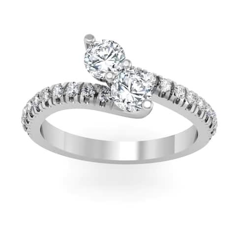 Auriya 14k Gold 1ctw Round Two-stone Diamond Engagement Ring