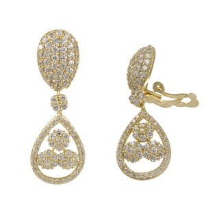 Luxiro Gold Finish Sterling Silver Cubic Zirconia Floral Teardrop Clip-on Earrings