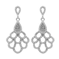 Luxiro Sterling Silver Pave Cubic Zirconia Teardrop Cluster Dangle Earrings - White
