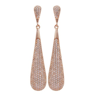 Luxiro Rose Gold Finish Sterling Silver Micropave Cubic Zirconia Teardrop Dangle Earrings