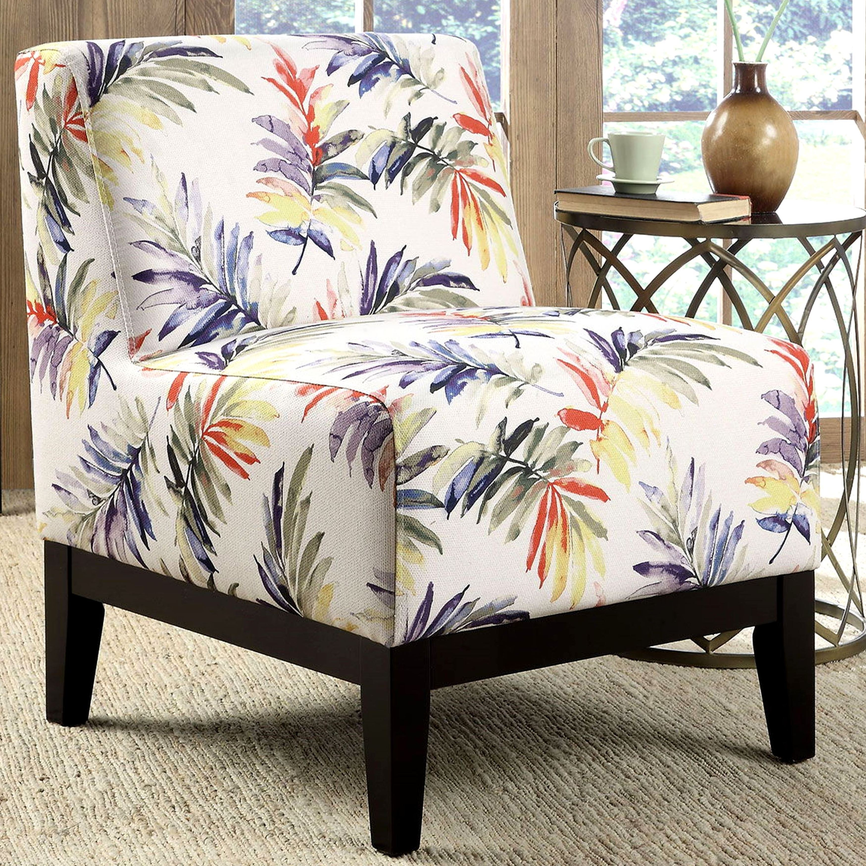 Picture of: Sycamore Artistic Purple Green Leaf Printed Design Slipper Accent Chair Overstock 10769045