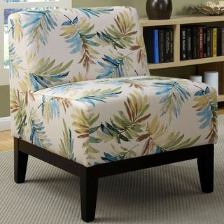 Sycamore Artistic Blue/Green Leaf Printed Design Slipper Accent Chair
