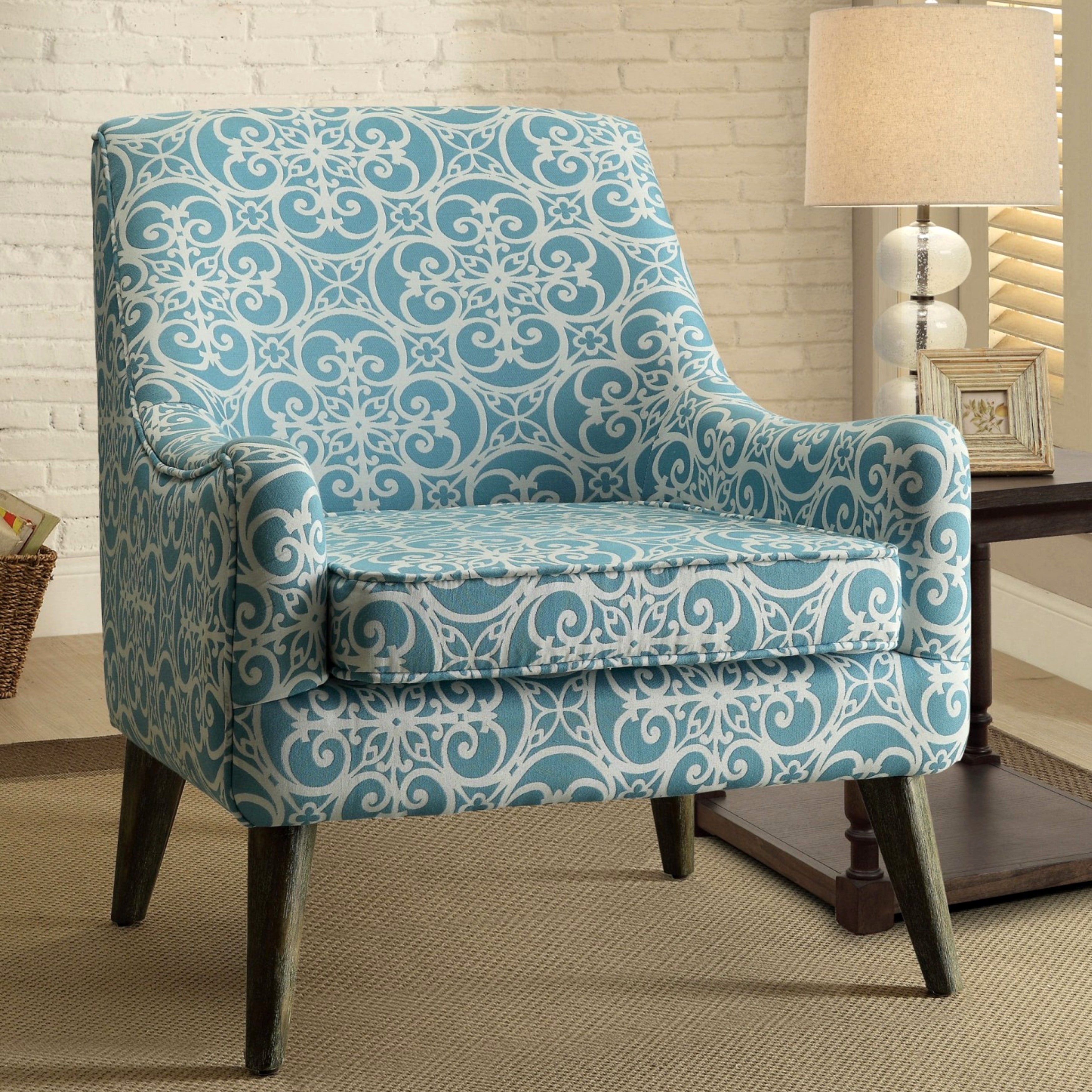 Monoco Estate Blue Patterned Living Room Accent Chair