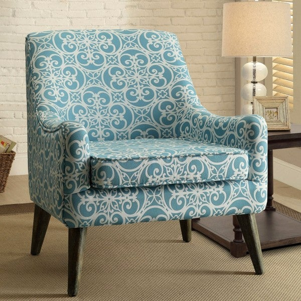 Shop Monoco Estate Blue Patterned Living Room Accent Chair