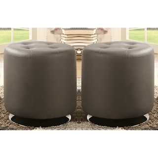 homepop charcoal gray leatherette round storage ottoman free shipping today. Black Bedroom Furniture Sets. Home Design Ideas