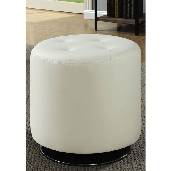 Leisure Modern Round Cream White Tufted Swivel Ottoman