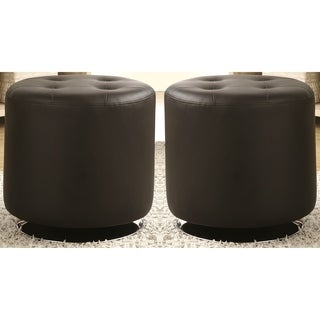 Leisure Modern Round Black Tufted Swivel Ottoman