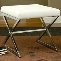 Ikon Sleek Design Cream/White Upholstered Accent Bench Ottoman