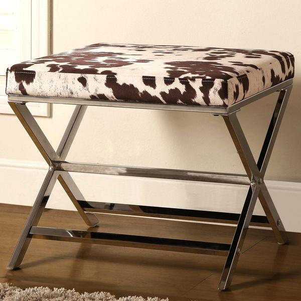 Shop Artisan Cow Print Sleek Design Chrome Accent Bench