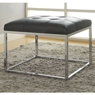 Keser Chrome Sleek Design Upholstered Accent Bench Ottoman