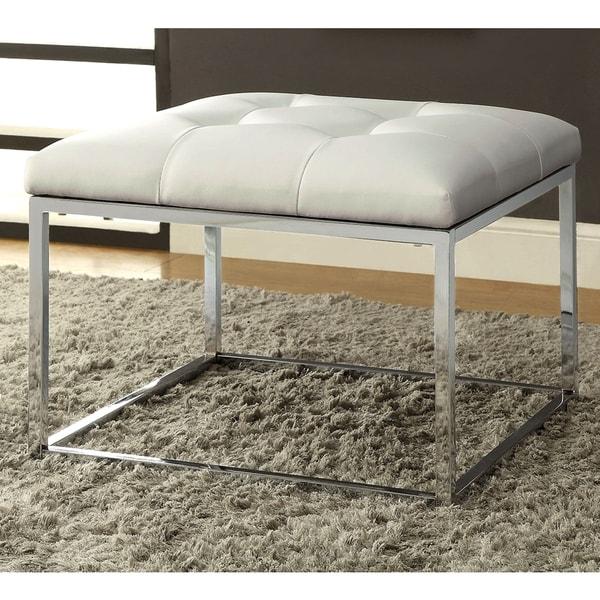 Keser Chrome Sleek Design Cream/ White Upholstered Accent Bench ...