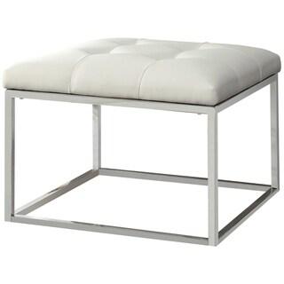 Keser Chrome Sleek Design Cream/ White Upholstered Accent Bench Ottoman