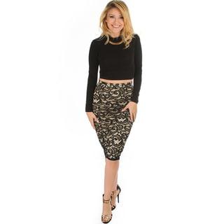 Lace In Line Women's Midi Pencil Skirt