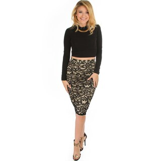 Lace In Line Women's Midi Pencil Skirt