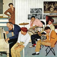 Marmont Hill - 'Jamming with Dad' by John Falter Painting Print on Canvas