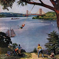 Marmont Hill - 'San Francisco Bay Boys' by John Falter Painting Print on Canvas - Multi-color