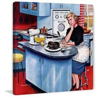 Marmont Hill - 'First Cake' by Stevan Dohanos Painting Print on Canvas - Multi-color