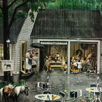 Marmont Hill - 'Rain-out Birthday Party' by Stevan Dohanos Painting Print on Canvas - Multi-color