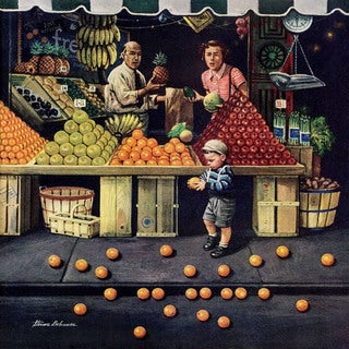Marmont Hill - 'Toddler and Oranges' by Stevan Dohanos Painting Print on Canvas