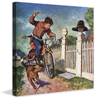 Marmont Hill - 'Playing Cowboy' by Amos Sewell Painting Print on Canvas