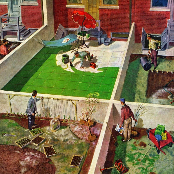 Marmont Hill - 'Painting the Patio Green' by Thornton Utz Painting Print on Canvas