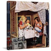 Marmont Hill - 'Playing House' by Stevan Dohanos Painting Print on Canvas