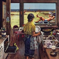 Marmont Hill - 'Doing Dishes at the Beach' by Stevan Dohanos Painting Print on Canvas
