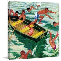 Marmont Hill - 'Rowboat Diving' by Mead Schaeffer Painting Print on Canvas - Multi-color