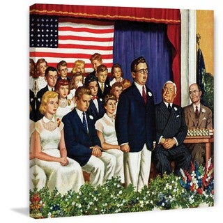 Marmont Hill - 'High School Commencement Address' by Amos Sewell Painting Print on Canvas