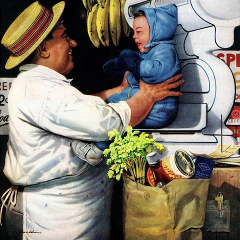 Marmont Hill - 'Babies and Bananas' by Stevan Dohanos Painting Print on Canvas