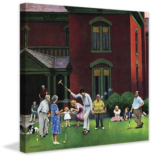Marmont Hill - 'Croquet Game' by John Falter Painting Print on Canvas