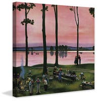 Marmont Hill - 'Evening Picnic' by John Falter Painting Print on Canvas - Multi-color