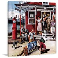 Marmont Hill - 'Coastal Postal Office' by Stevan Dohanos Painting Print on Canvas - Multi-color