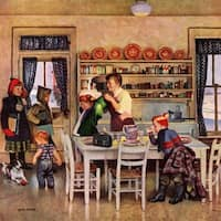 Marmont Hill - 'Getting Ready for School' by John Falter Painting Print on Canvas - Multi-color