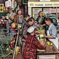 Marmont Hill - 'Grocery LIne' by Stevan Dohanos Painting Print on Canvas - Multi-color