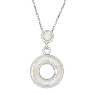 La Preciosa Sterling Silver Mother of Pearl Double Circle Necklace