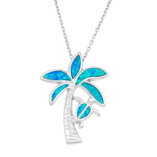 La Preciosa Sterling Silver Blue Opal Palm Tree and Turtle Necklace