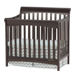 Child Craft Ashton Slate Mini 4-in-1 Convertible Crib with Mattress